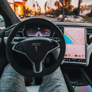 Driving a Tesla car